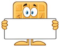 Smiling Square Waffle Cartoon Mascot Character Holding A Blank Sign Royalty Free Stock Photos