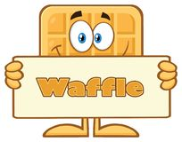 Smiling Square Waffle Cartoon Mascot Character Holding A Blank Sign Royalty Free Stock Photography