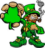 Smiling St. Patricks Day Leprechaun. Happy Cartoon Leprechaun on St Patricks Day Holiday Illustration Royalty Free Stock Photo