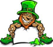Smiling St. Patricks Day Leprechaun Holding Sign Stock Photos