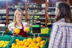 Smiling staff assisting a man with grocery shopping royalty free stock photography