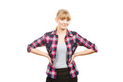 Smiling standing woman wearing checkered shirt Royalty Free Stock Images