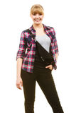 Smiling standing woman wearing dungarees and shirt Stock Images