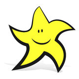 Smiling Star. Smiling Yellow Star Running Cartoon Mascot Illustration Stock Photography