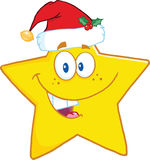 Smiling Star Cartoon Character With Santa Hat Stock Photos