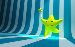 Smiling star with magic wand Royalty Free Stock Images