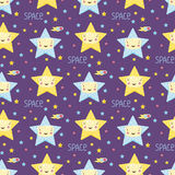 Smiling Stars in Space Cartoon Seamless Pattern Royalty Free Stock Photo