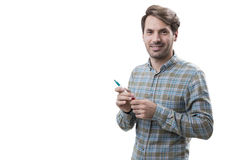 Smiling startup founder with a marker, isolated Royalty Free Stock Images