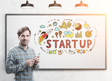 Smiling startup founder with a marker, startup Royalty Free Stock Images