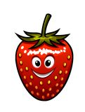 Smiling strawberry with a green stalk Stock Photos