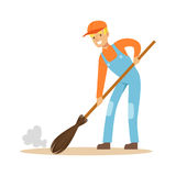Smiling street sweeper at work, street cleaner character vector Illustration. On a white background Royalty Free Stock Image