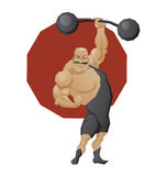 Smiling strong man lift a barbell. Illustration of cartoon character of circus mighty strong man done in edged geometric style. Man of muscle in leotard lift a Royalty Free Stock Image