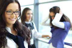 Smiling student. Student meeting smiley girl face on foreground Stock Images