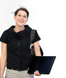 Smiling student. A portrait of a young female student isolated Royalty Free Stock Photo