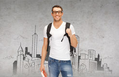 Smiling student with backpack and book Royalty Free Stock Image
