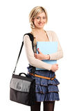 A smiling student with a bag Stock Photo