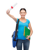 Smiling student with bag, folders and diploma Stock Photo