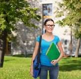 Smiling student with bag and folders Stock Photos