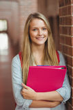 Smiling student with binder posing Royalty Free Stock Images
