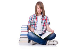 Smiling student with books isolated on white Stock Photos