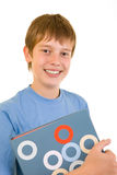 Smiling student with colorful books Stock Images