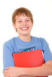 Smiling student with colorful books Royalty Free Stock Images