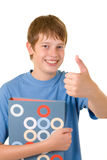 Smiling student with colorful books Royalty Free Stock Photo
