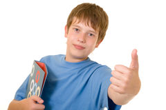 Smiling student with colorful books Stock Photos