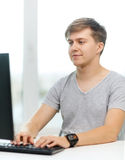 Smiling student with computer Stock Photos