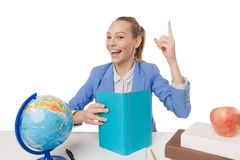 Smiling student getting inspiration. Royalty Free Stock Photography