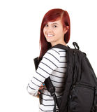 Smiling student girl with black backpack Royalty Free Stock Images