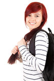 Smiling student girl with black backpack Royalty Free Stock Photos