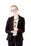 Smiling student girl celebrate with trophy isolated Royalty Free Stock Photos