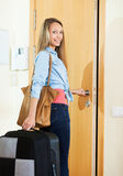 Smiling student girl going at holiday vacation Stock Photography