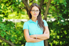 Smiling student girl outdoors portrait.  Royalty Free Stock Images