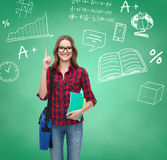 Smiling student girl showing thumbs up Royalty Free Stock Photo