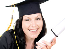 Smiling student girl wiht graduate certificate Royalty Free Stock Image