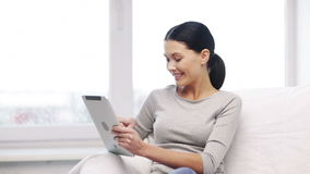 Smiling student girl or woman with tablet pc stock video footage