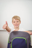Smiling student giving a thumbs up. At the elementary school Stock Images