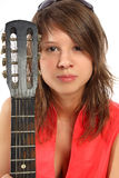 Smiling student with a guitar Royalty Free Stock Images