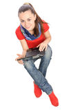Smiling student with laptop top view Stock Images