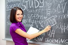 Smiling student near the blackboard Royalty Free Stock Image