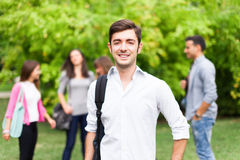 Smiling student portrait at the park. Outdoor portrait of a smiling student Royalty Free Stock Photo