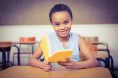 Smiling student reading a book Royalty Free Stock Photography