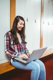 Smiling student sitting at the computer Royalty Free Stock Photography