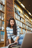 Smiling student sitting on the floor against wall in library studying with laptop and books Stock Photography
