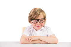 Smiling student sitting with glasses Royalty Free Stock Photo