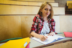 Smiling student taking notes during class Stock Image