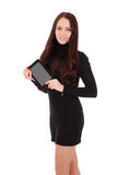 Smiling student teenage girl with tablet pc Royalty Free Stock Photography