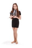 Smiling student teenage girl with tablet pc Royalty Free Stock Images